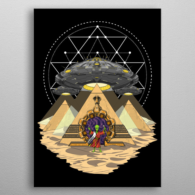 Egypt Alien Abduction UFO metal poster for science fiction lovers. metal poster