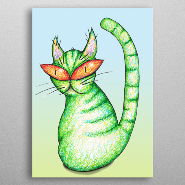 A colored fineliner drawing of a green cat with funny red eyes.  metal poster