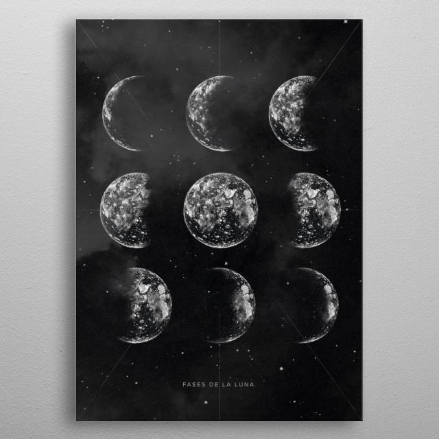 Vintage Poster with Drawing Moons, Cloud and Stars metal poster