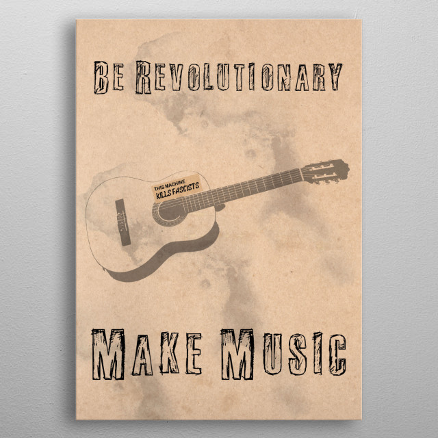 Woody Guthrie inspired guitar poster metal poster