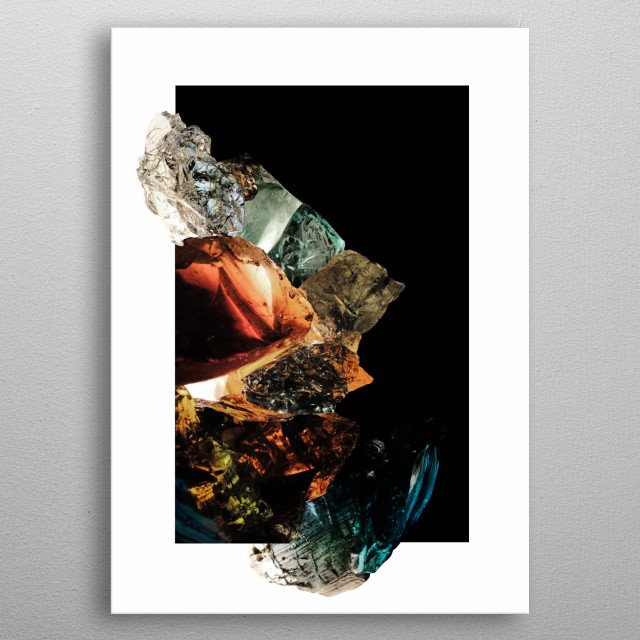 Hand blown glass mistakes picked in the woods within the radius of and on the former grounds of a  factory. metal poster