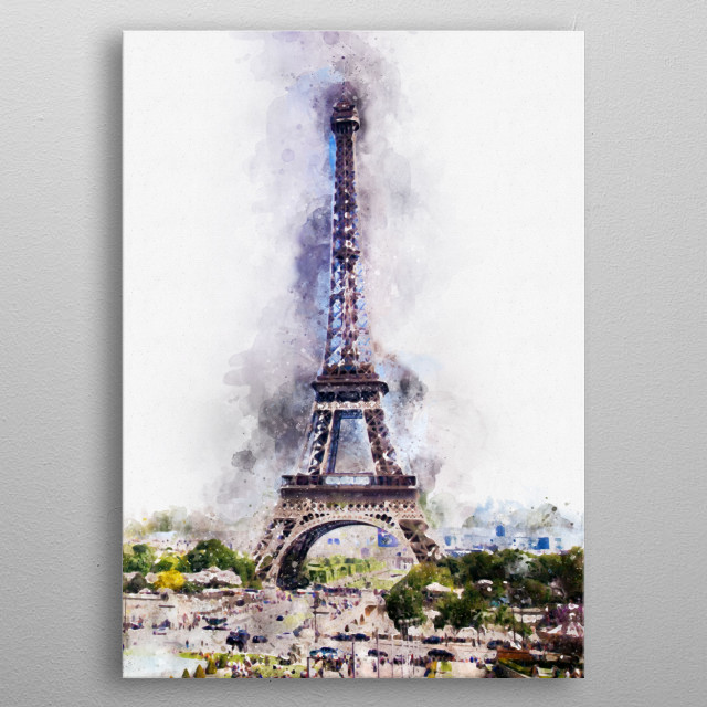 A watercolour picture of the Eiffel Tower in Paris metal poster