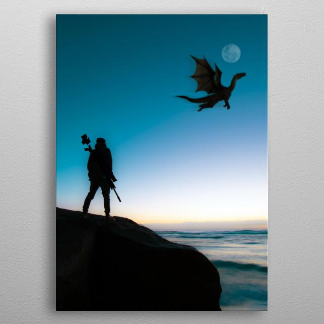 Sky Dragon Hunter inspired artwork metal poster