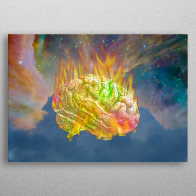 Burning Psychedelic Brain. Colorful Sky metal poster