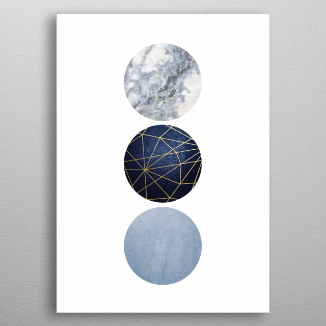Minimalist design of 3 circles in blue with gold geometric accent. Part of a matching set of 3. metal poster