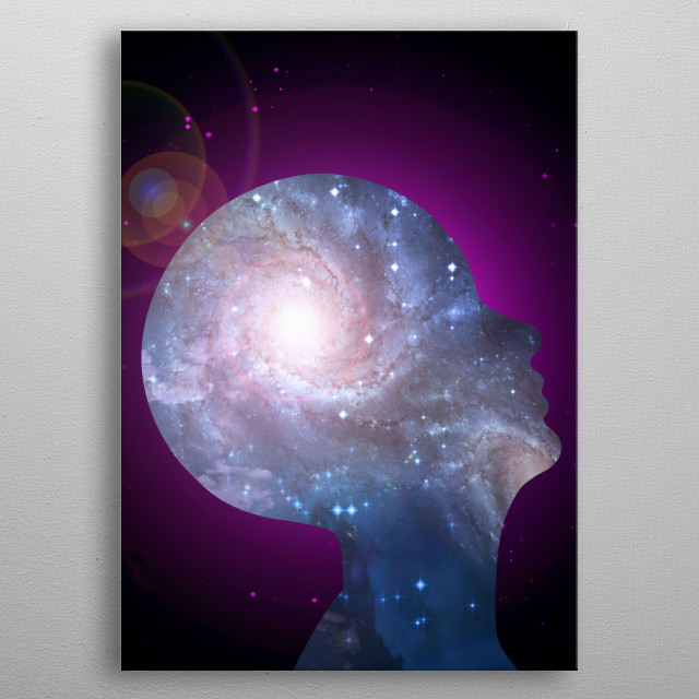 Galaxy Mind. Vivid space metal poster