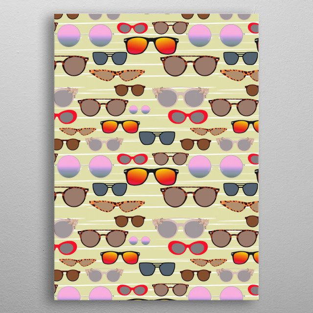 A collection of sunglasses for your beach party. metal poster