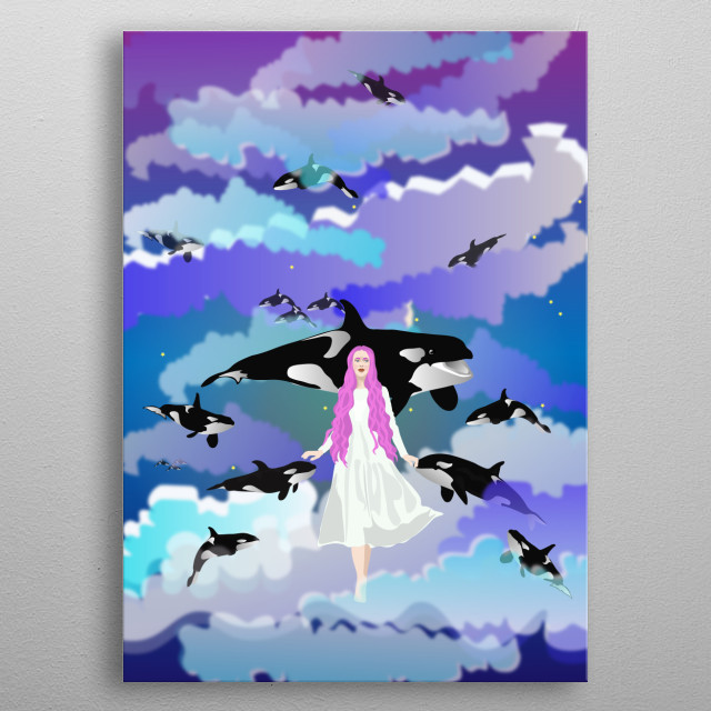 What if fish and animals did not live in water, but fly in the midst of clouds like birds? Would you like to fly with them?  metal poster