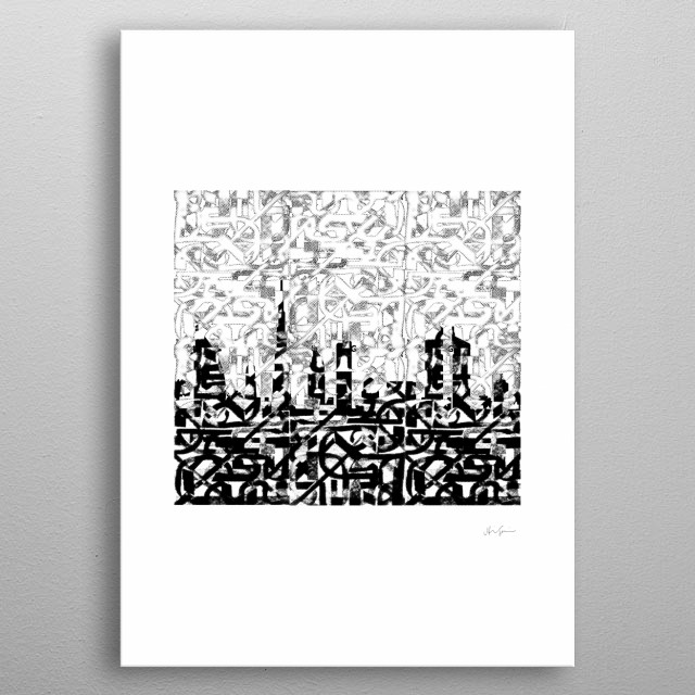 Illustration of Dubai's modern skyline by calligraphic expressionism of [r]evolution in the oasis metal poster