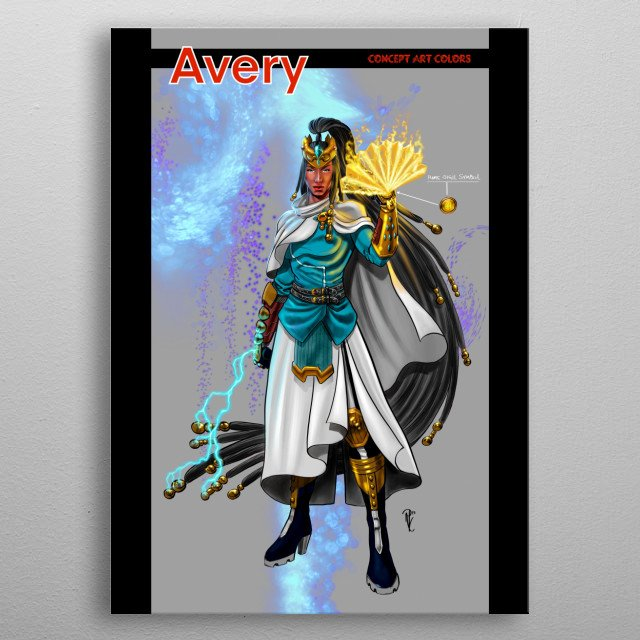This piece depicts Elder Avery Blade aka The Queen of Blue Bastion, drawn by Rod Luper for the original comic series Blue Bastion. metal poster