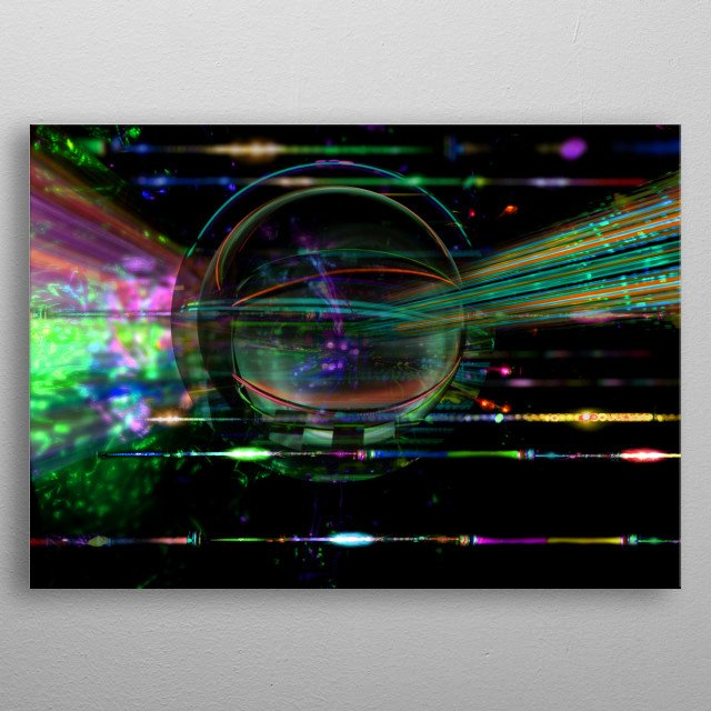 Cosmic science and fiction image of moving stuff on the universe space.  Colorful dark image with glass ball floating. Space battle devices. metal poster