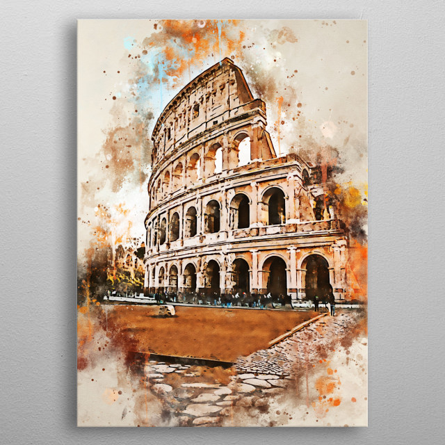 Colosseum of Rome in Italy with watercolor painting metal poster