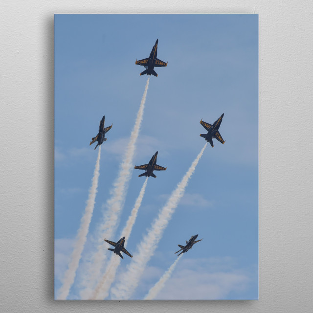 The Blue Angels is the United States Navy's flight demonstration squadron which was initially formed in 1946. metal poster