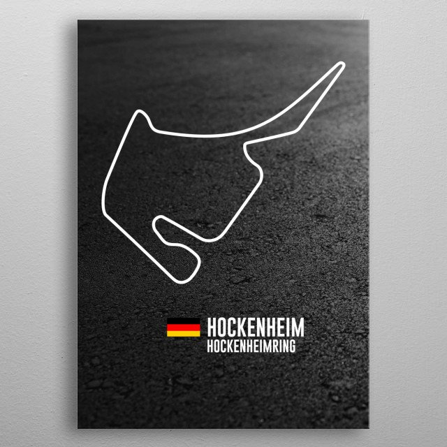 Map of a racetrack on asphalt background with flag of the country and location and name given.  metal poster