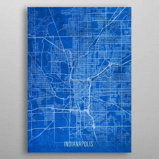 Indianapolis City Street Map Blueprint Indiana metal poster
