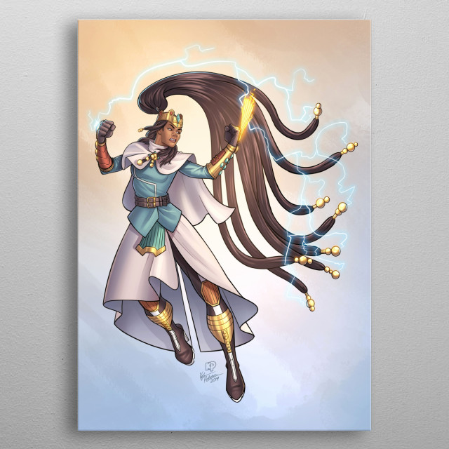 This poster depicts Elder Avery Blade aka The Queen from the original comic series Blue Bastion by T.E. Marshall. Art by Kyle Petchock. metal poster