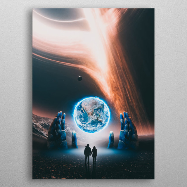 Time travel to the edge of the Universe and Singularity 🌑 metal poster