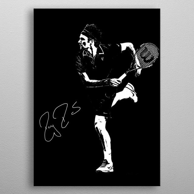 Illustration of Roger Federer metal poster