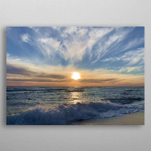 New sunrise, new day. Beautiful orange-blue colors, great sky with these clouds, in harmony with the sea. After the shooting, go to water! metal poster