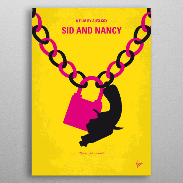 The relationship between Sid Vicious bassist for British punk group Sex Pistols and his girlfriend Nancy Spungen is portrayed.  metal poster
