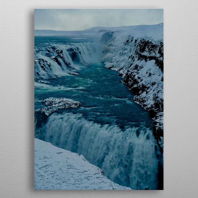 Gullfoss Falls, Iceland. metal poster