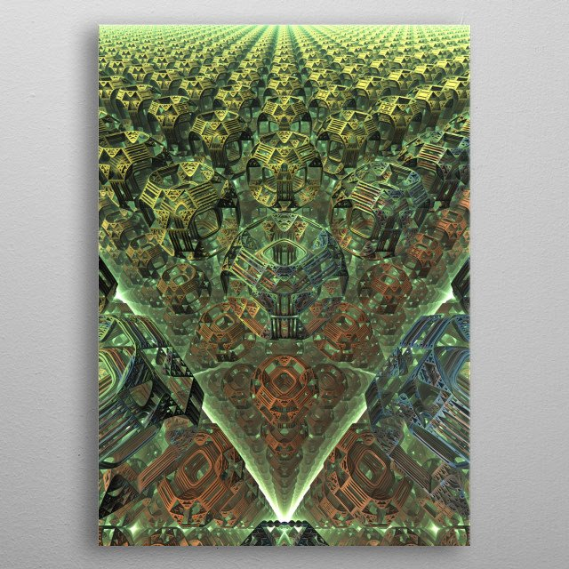 A three-dimensional fractal rendering that just happened to have a radioactivity symbol as part of the design. metal poster