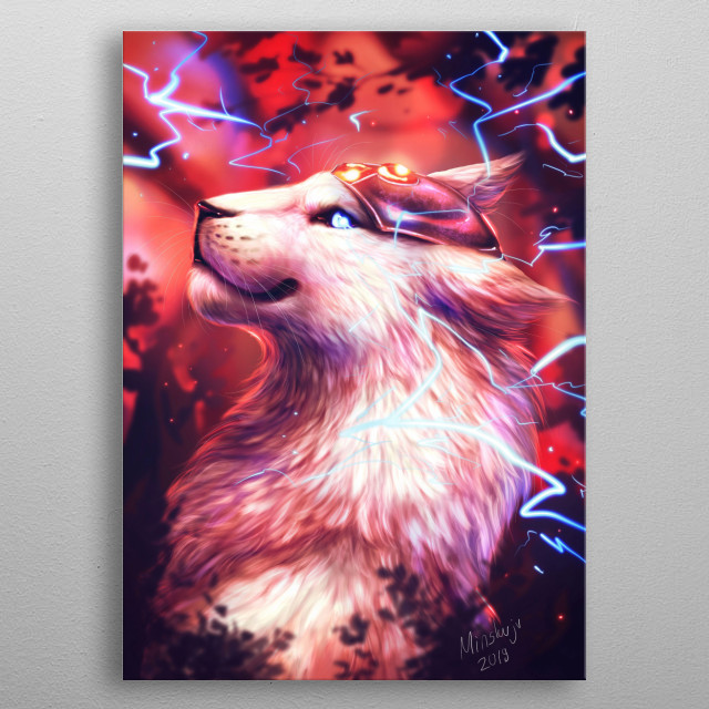 This piece depicts Fiona the Lion Construct, a robotic creature drawn by Minea Juntura for the original comic series Blue Bastion. metal poster