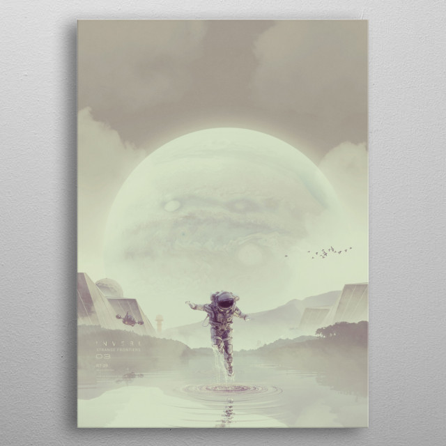 No 3 from the series Strange Frontiers, a wandering cosmonaut explores new surroundings. metal poster