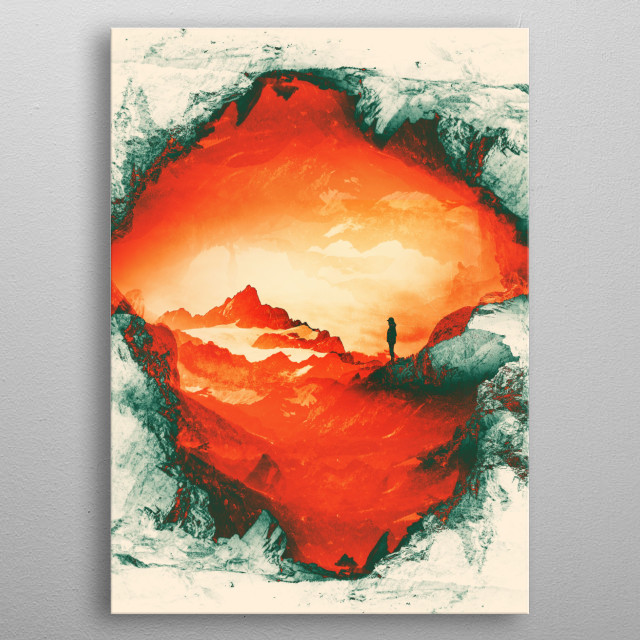A fantasy Mars landscape of a women Silhouette watching these surreal Red Misty Mountains metal poster