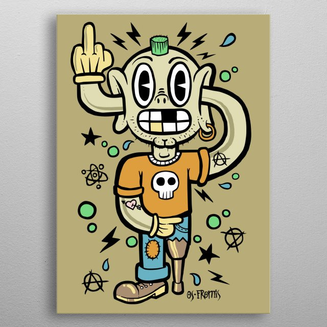 A funny lowbrow illustration of a punk. metal poster