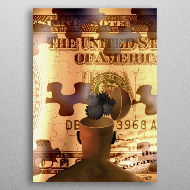 Open Mind Creative Wealth. USD background metal poster