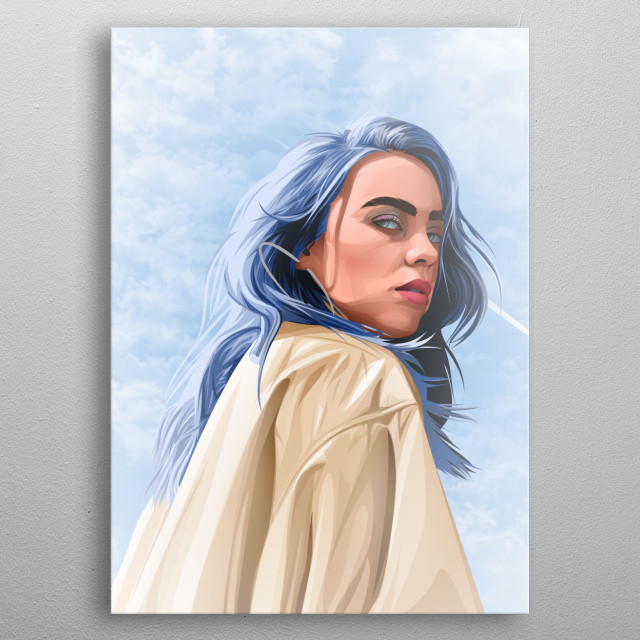 Billie Eilish in mesmerizing vector art with cloudy background metal poster