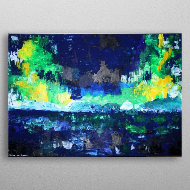 Northern lights above the arctic sea. I love northern lights. They truly are one of the most magical phenomena in nature.  metal poster