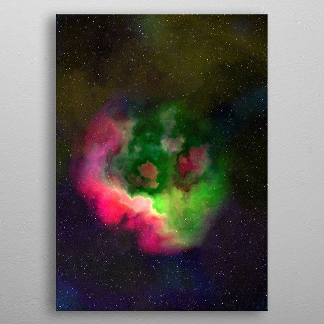 One of a Hundred Nebulas. Abstract digital illustration of cloud nebulas in space. In prismatic colors.  metal poster