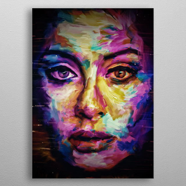 Adele in abstract paintings art metal poster