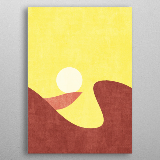 Part of a series of minimal geometric vector shape illustrations of nature landscapes added with handmade textures. metal poster