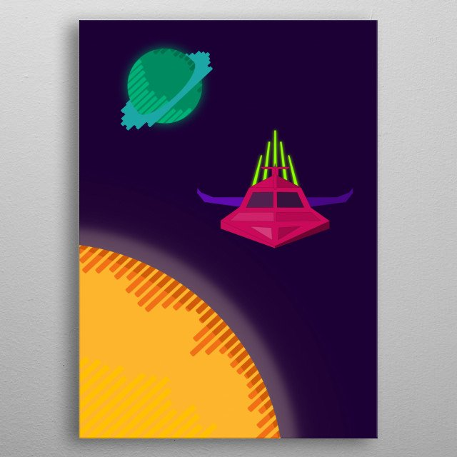 A Spaceship on its ways home crossing a solar system with a mysterious planet. metal poster