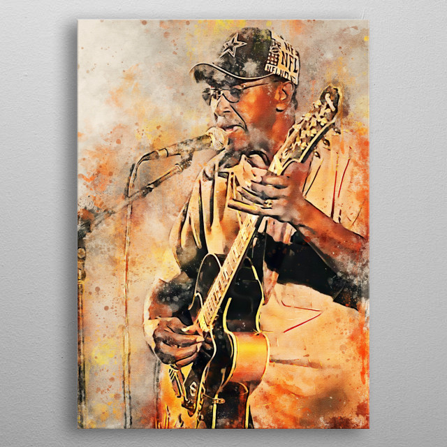 """Elmore James is a guitarist, singer, songwriter, and American blues band leader.  He is known as the """"King of Sliding Guitar"""" and is famous  metal poster"""