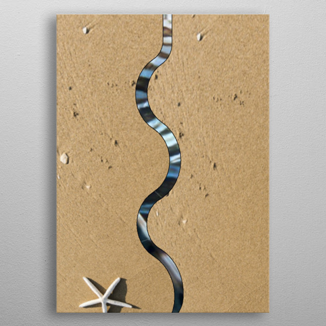 A simple illustration about a sea snake in the sand  metal poster
