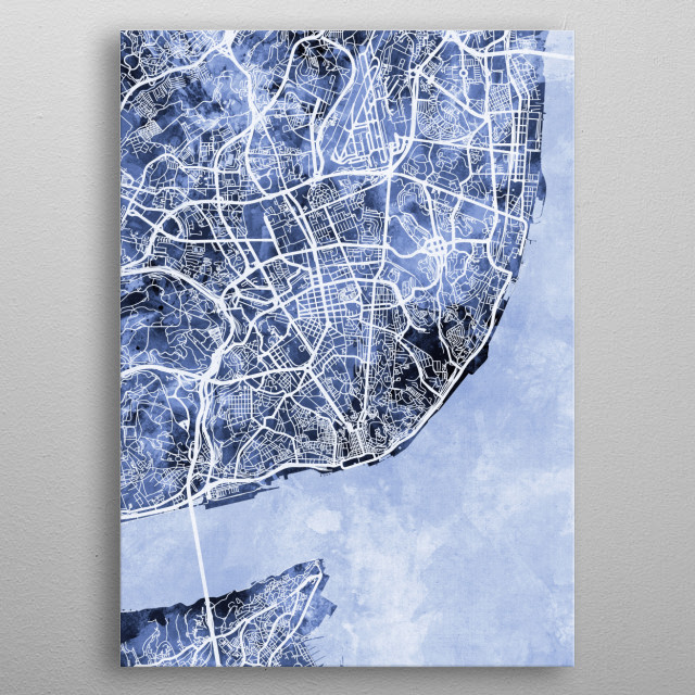 Watercolor street map of Lisbon, Portugal metal poster