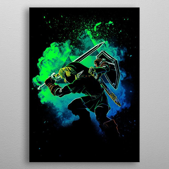Black Silhouette of the heroes with the master sword metal poster
