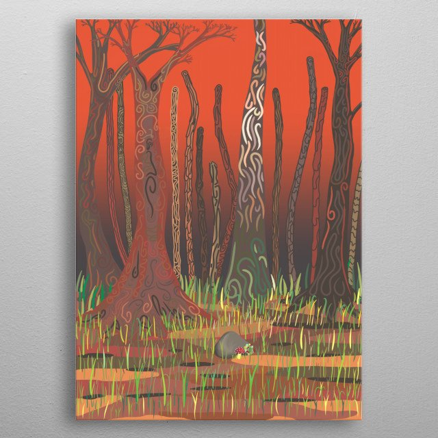 Representation of every forest in the world, surviving human power, but still looking beautiful in harsh conditions. metal poster
