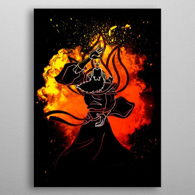 Black Silhouette of the soul of firebending metal poster