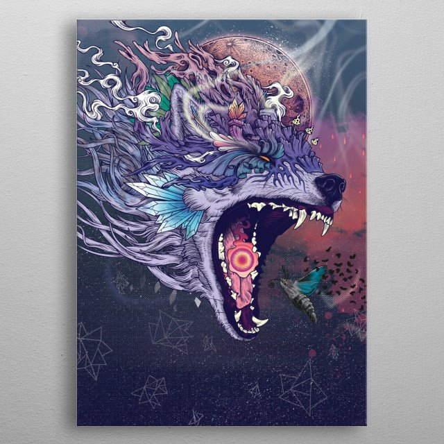 Originally for a book of poems entitled 'Kalopsia' by Aaron Ares. metal poster