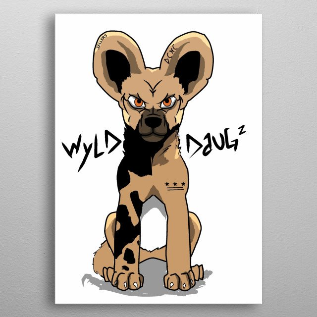 Illustration of a wild dog, original animated character.  metal poster