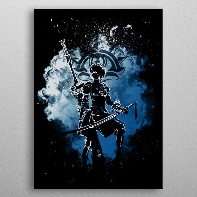 Black Silhouette of 2b metal poster
