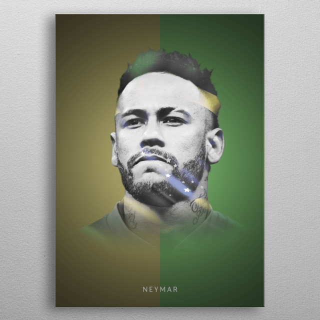 Neymar with the Brazil colors in his head shape. metal poster