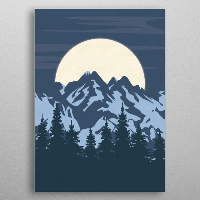 Illustration of a landscape in the night with a full moon shining over blue mountains. metal poster