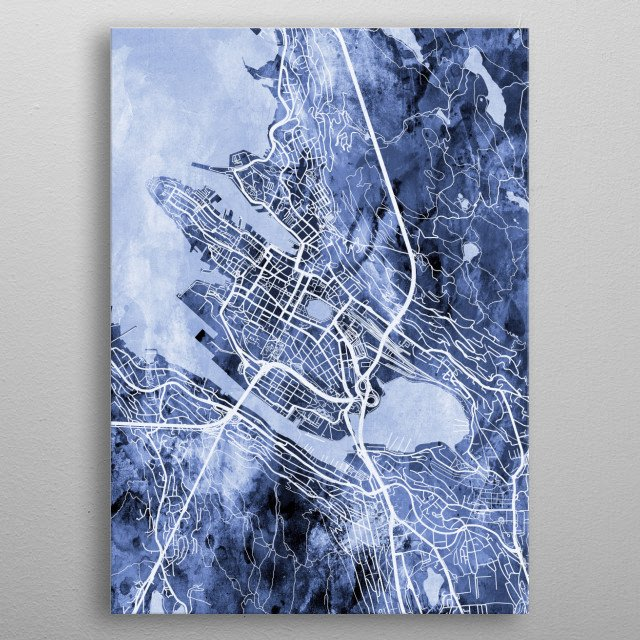 Watercolor street map of Bergen, Norway metal poster