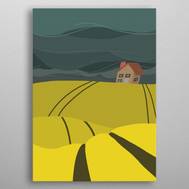 A simple design-oriented landscape inspired by the bright yellow fields under stormy Alberta, Canada skies. metal poster